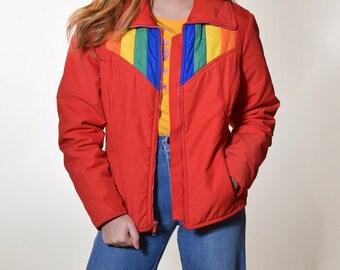 c48b951fd6 1970s authentic vintage red + rainbow stripe puffer zip up ski jacket  women s size Small - Medium