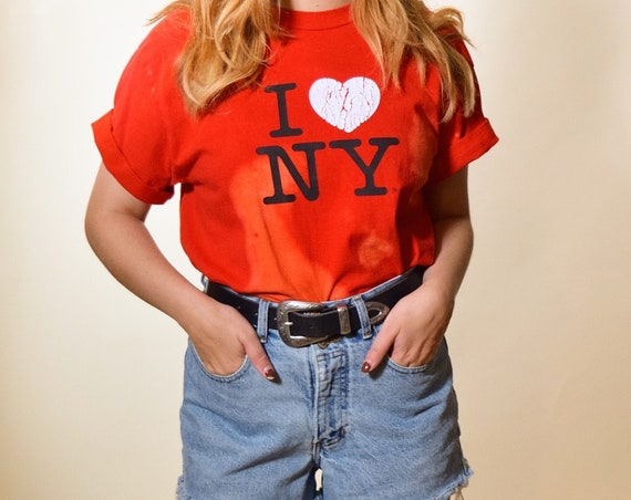 I love NY one of a kind acid wash distressed classic souvenir style tee shirt women's size S/M
