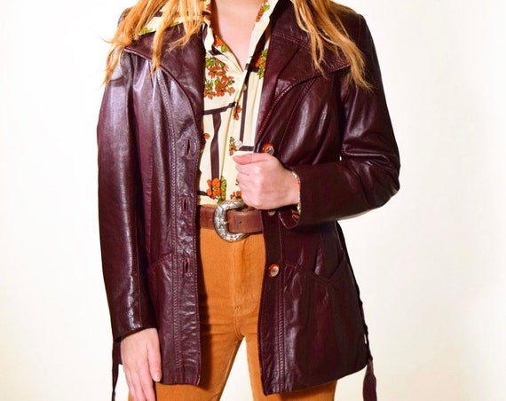 1970s authentic vintage dark maroon/purple leather button down jacket with waist tie women's size small / medium