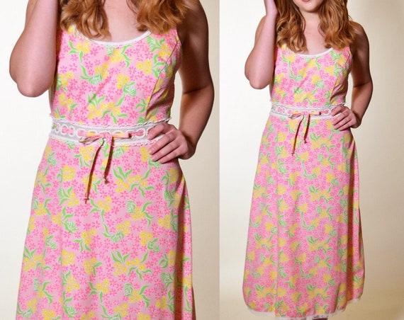 Vintage 1960's floral (Lilly Pulitzer) pink summer lace trim midi maxi sundress mod hippie bohemian women's size small / medium
