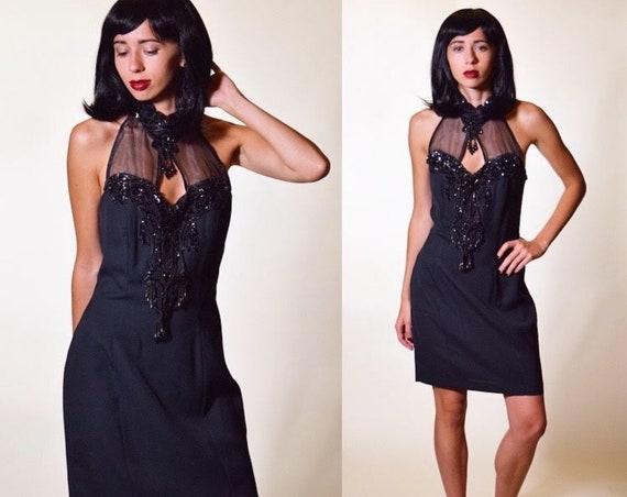 Vintage 1980's burlesque/cabaret/Moulin Rouge Beaded halter top black dress sexy Halloween women's size small