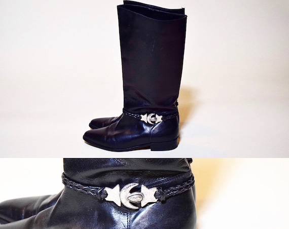 Vintage Seychelles Black leather boots with silver star + moon detail women's US size 6
