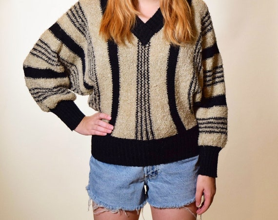 1980s authentic vintage stripe black and beige acrylic v neck pullover sweater women's size small - medium
