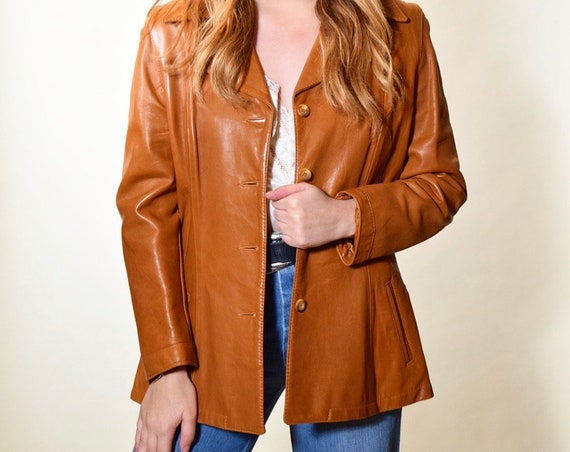 Authentic vintage 1970s chestnut brown soft leather classic button down fitted coat women's  small / medium