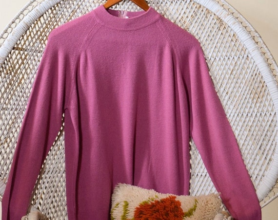 1950s vintage mauve rose acrylic pullover thin preppy rockabilly sweater women's size medium-large