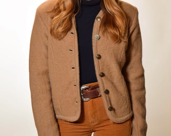1950s authentic vintage tan brown button down wool sweater / jacket women's size medium