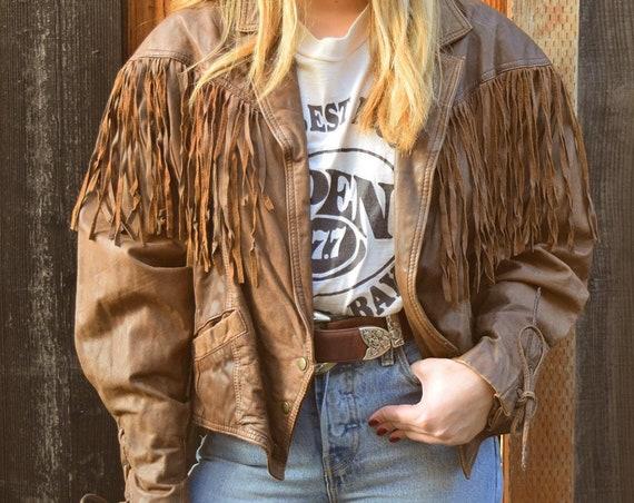 Vintage Leather fringe  western biker jacket size medium