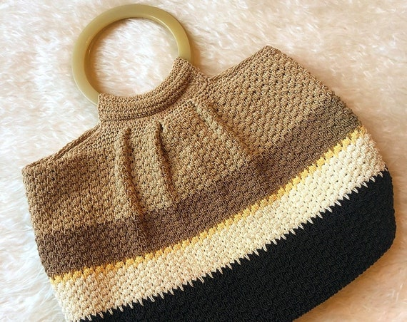 Vintage woven taupe brown white stripe pouch purse with circular handle boho bohemian hippie