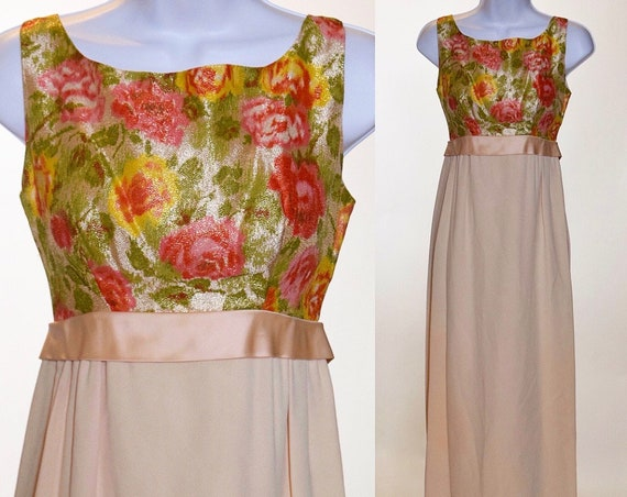 1960s classic vintage lame brocade floral column dress with satin was it bow women's size XS-S