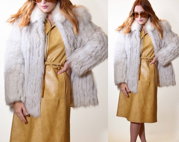 1970s-1980s vintage Saga Fox off white + gray glamorous coat women's size medium