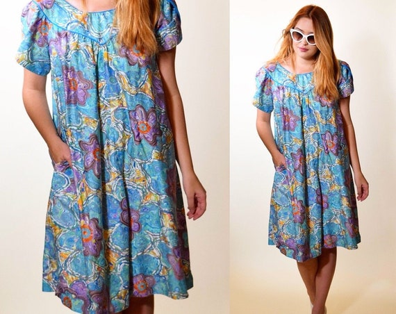 Authentic vintage Polynesian floral short sleeve Hawaiian mini dress women's size S-M