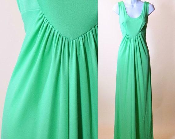 1970s lime green 100 % Polyester classic sleeveless long maxi formal dress women's size medium