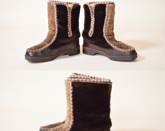 1970s authentic vintage Snowland plush two tone faux fur shearling and leather lined snow boots/booties women's size 6 (US)