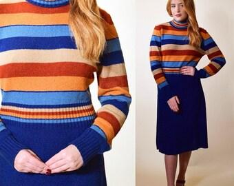 b8b7647d6a 1960s RARE vintage rainbow stripe acrylic turtleneck long sleeve below the  knee dress women s size medium