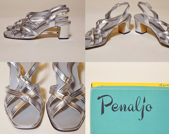 "1960s-1970s authentic vintage silver strappy open top sandal strap chunky 2.5"" heel women's US size 7.5-8"