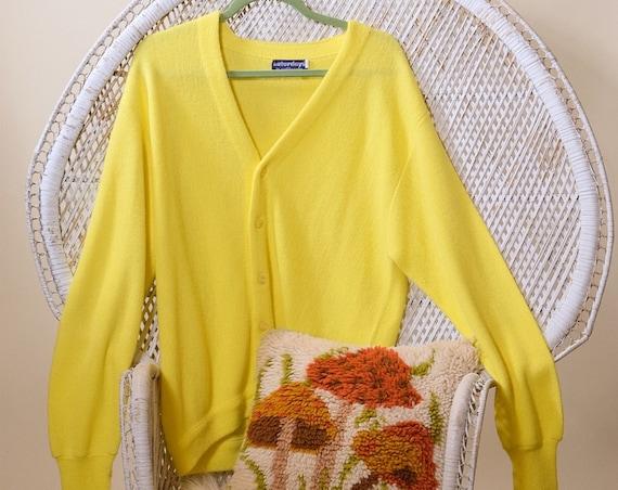 1970s authentic vintage bright yellow oversized grandpa style cardigan unisex Medium/large