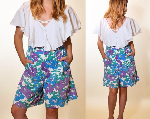 1980s retro authentic vintage high waisted floral pleated shorts women's size medium