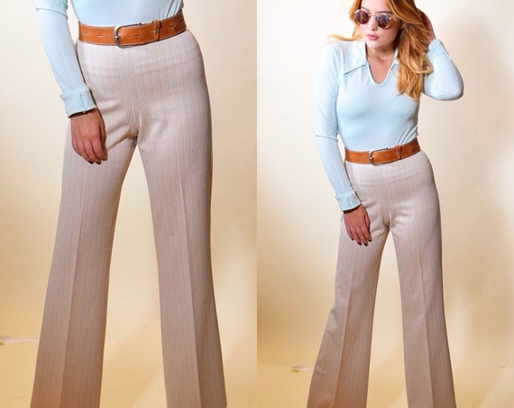 1970s authentic vintage classic disco polyester stripe high waisted slacks with trousers women's size medium