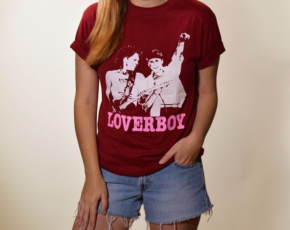 1980s Loverboy vintage thin soft 50/50 cotton polyester graphic band t shirt women's size small