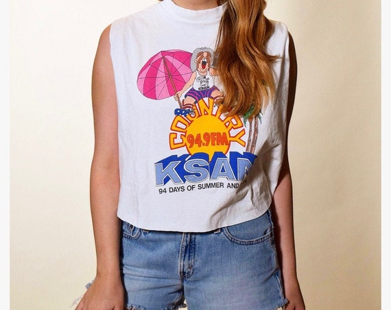 1990s vintage KSAN-94.9 country radio station summer fun graphic tank top women's size medium