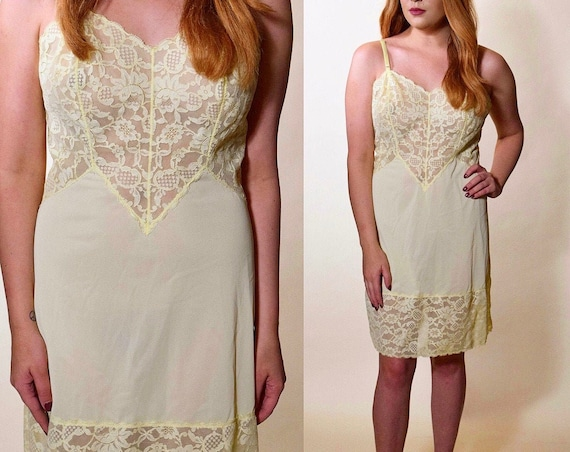 1960s polyester Vanity Fair vintage mini light gold yellow tone slip lace spaghetti strap dress women's size small