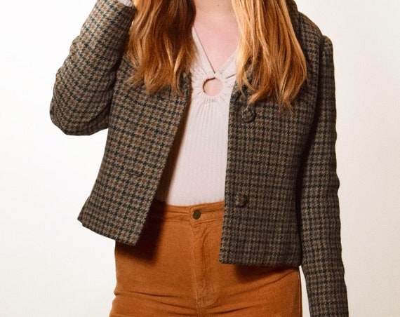 1950s vintage green, brown , earth tone tweed crop blazer women's size small