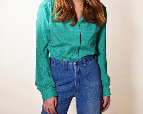 1970s vintage polyester green / teal groovy retro button down collared shirt women's size medium