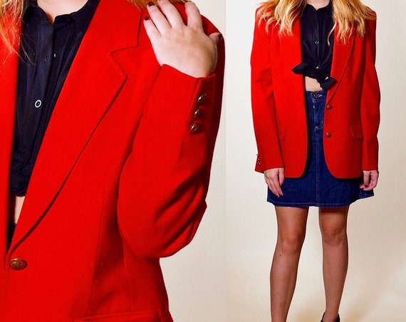 Authentic vintage Pendleton red wool brass button down collared preppy blazer women's size small - medium