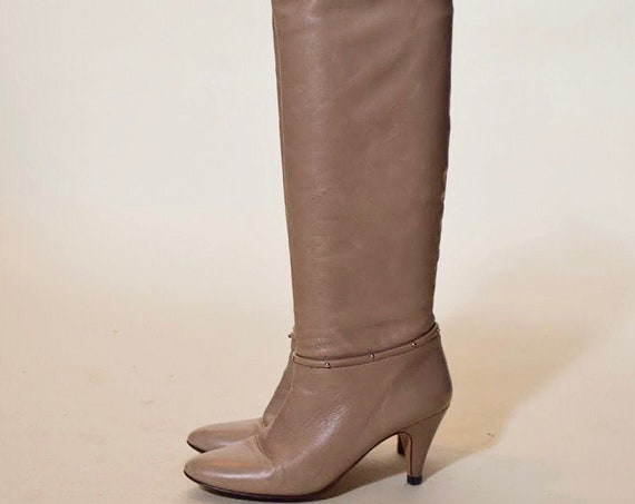 "1980s vintage retro light taupe tall leather with silver metal detail 3"" stiletto heel boots women's US size 6"
