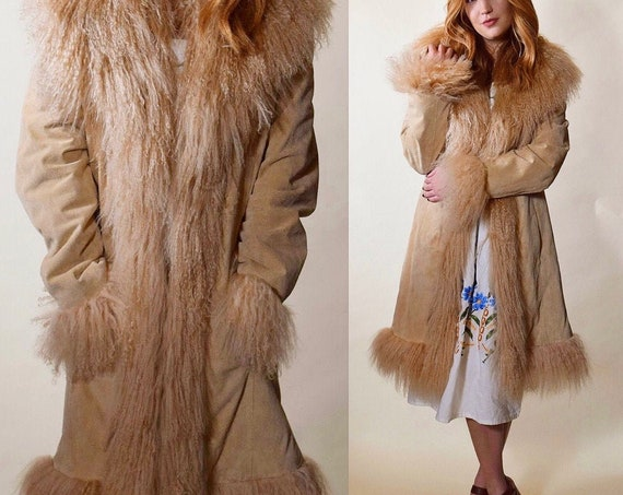 Vintage light brown shaggy faux fur collar and trim + suede Penny Lane Almost Famous coat women's size small