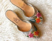 1960s vintage silver multi color beaded floral round toe slide on wedge mule shoes women 39 s US size 7-7.5