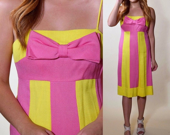 1960s authentic vintage Miss Elliette California pink + yellow stripe spaghetti strap mid length dress with bow bust women's size small