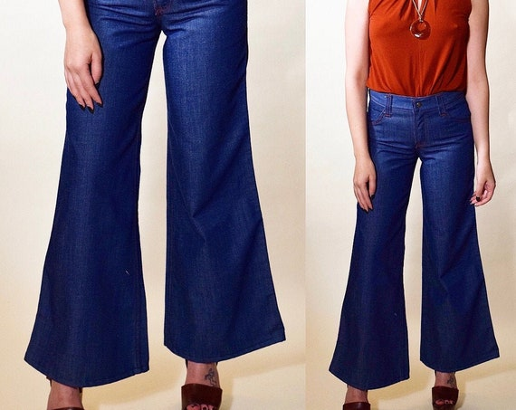 "1970s RARE vintage ToughSkins dark denim bell bottoms women's US size 0-2 , 25"" Waist / Size XS/S"