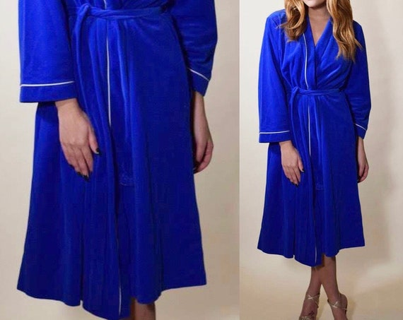 1970s Authentic vintage royal blue Vanity Fair tie robe women's size small
