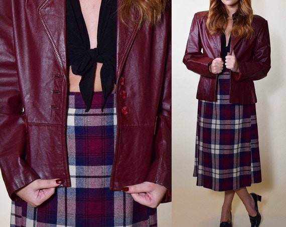 1970s purple maroon leather classic button down collared cropped jacket women's size Small