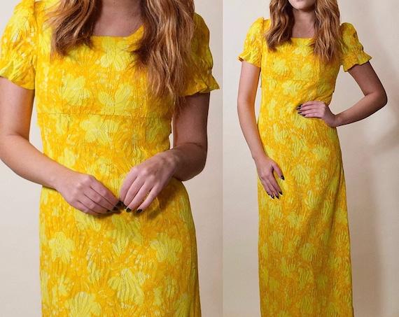 1960s vintage yellow + orange floral short sleeve hippie maxi dress women's size XS-S