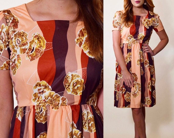 1960s authentic vintage mod peach pink, red,brown / earth tone fit and flare mini dress women's size small