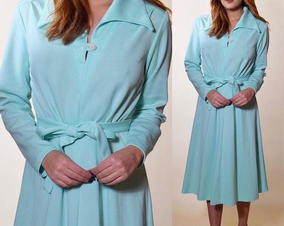 1970s vintage mint green button down collared long sleeve shirt dress women's size medium-large
