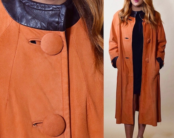 1950s authentic vintage peach rust orange suede swing coat with black leather trim women's size medium- large