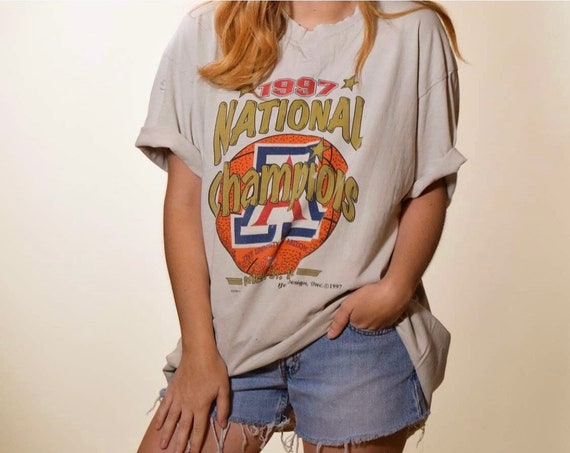 1990s authentic vintage 1997 National Champions distressed oversized tee shirt unisex L-XL