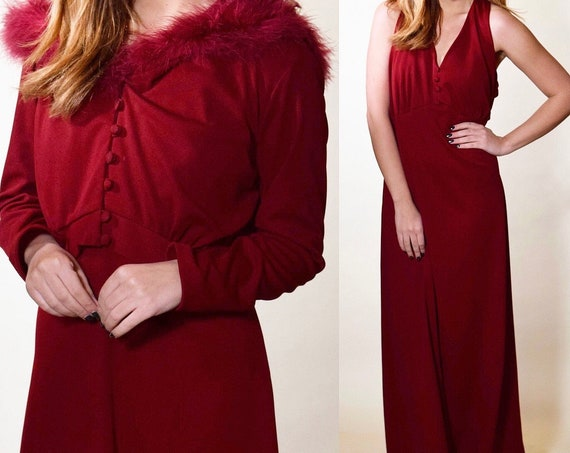1970s authentic vintage Burgundy red halter maxi dress with matching bolero style jacket with ostrich feather trim + hood women's size large