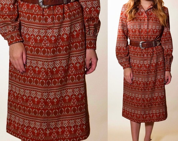 1970s authentic vintage long sleeve bohemian patterned button down collared midi dress women's size Large
