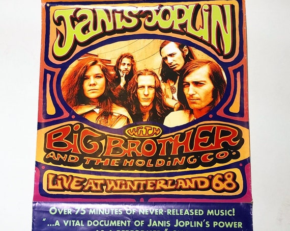 Rare vintage Janis Joplin with Big Brother and the Holding Company-Live at Winterland promotional collectible record store ad poster
