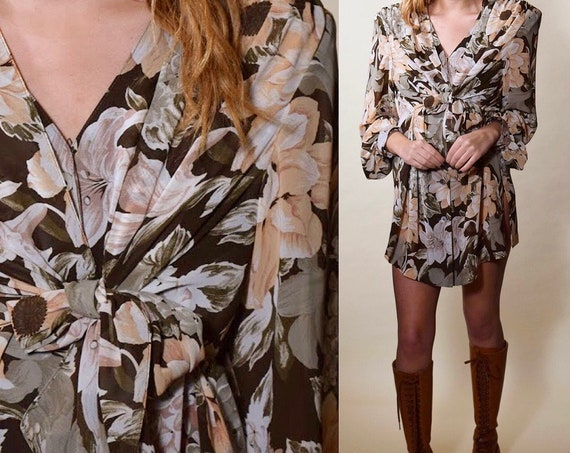 Vintage earth tone floral mini tunic long sleeve dress / blouse women's size small - medium