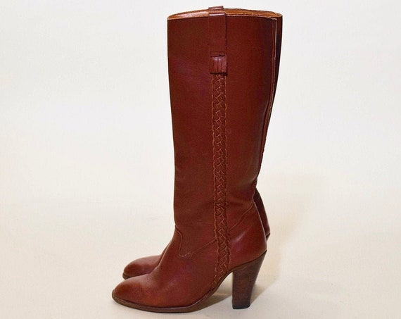 "1970s vintage braided brick red leather tall boots with 3"" stacked heel women's US size 5.5"