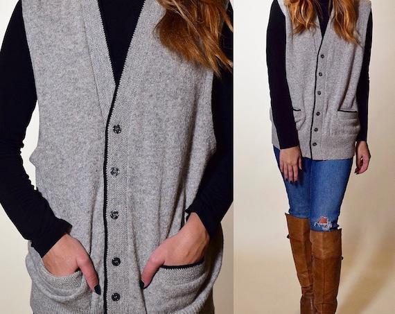 1970s authentic vintage gray  + black button down Sears Sportswear oversized wool blend sweater vest unisex medium