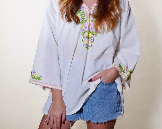 Vintage one of a kind floral embroidered cotton white peasant long sleeve blouse women's size medium-large