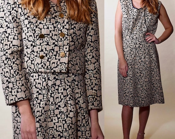 1950s vintage geo print 2 piece formal double breasted jacket + sleeveless dress set women's size-Medium