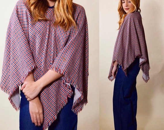 Vintage 1960's hippie mod houndstooth pointed fringe poncho red white and blue women's size S-M
