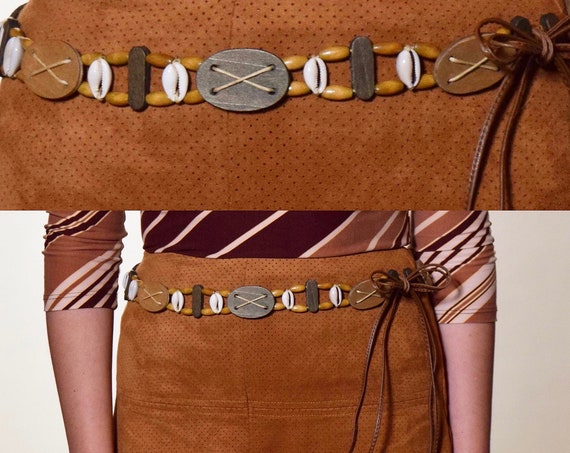Authentic vintage one of a kind brown earth tone wooden bead + conch shell tie fringe belt